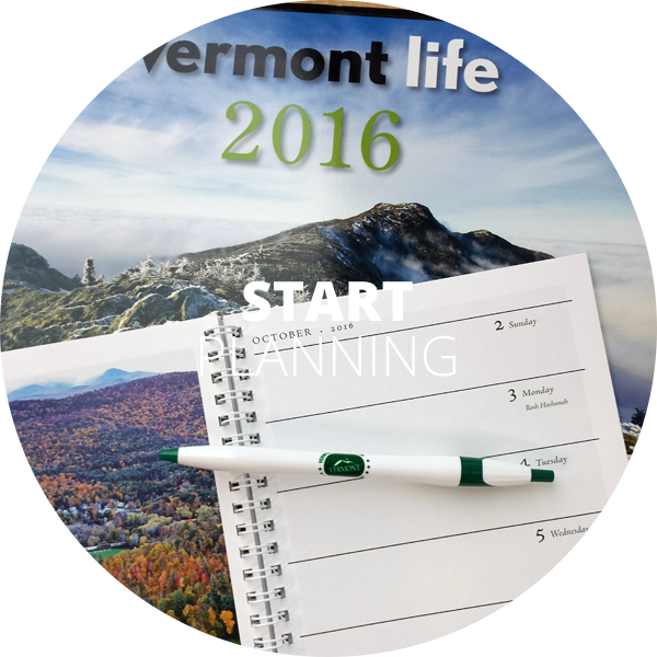 Vermont Life day planner over Vermont Life calendar