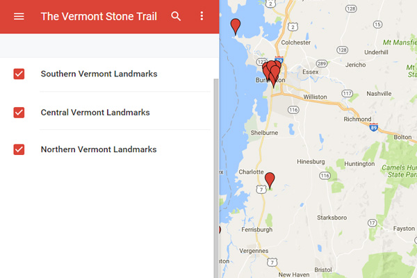 Vermont Stone Trail google map.