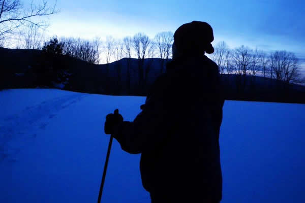 Skiing at dusk Shires of Vermont