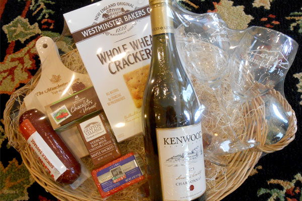 A Vermont cheese and wine gift basket.