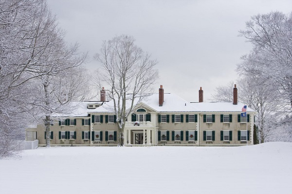 Historic Inn in the snow