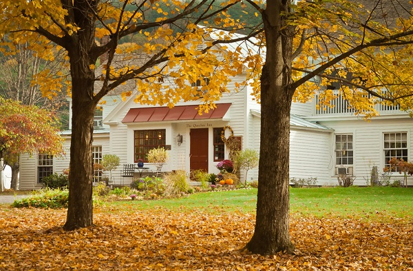 Fall foliage in front of inn