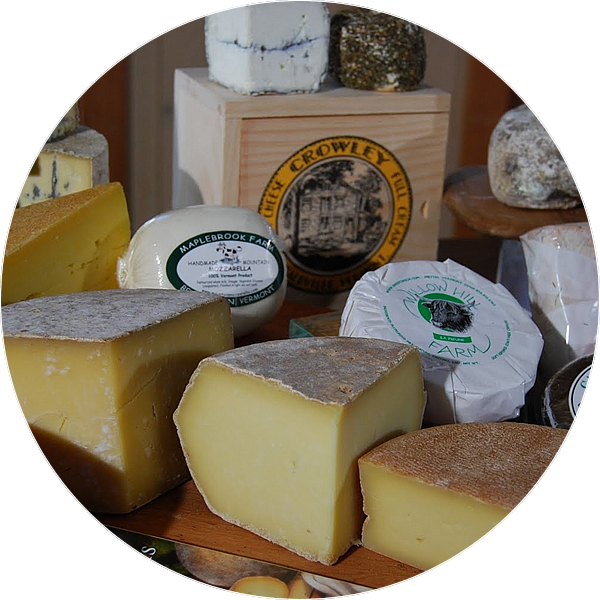 a variety of vermont-made cheeses
