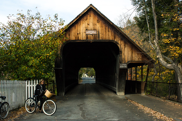 Middle Bridge in Woodstock, Covered Bridges in Vermont.