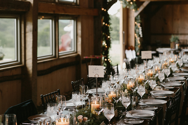 Vermont wedding venue with adorned reception table