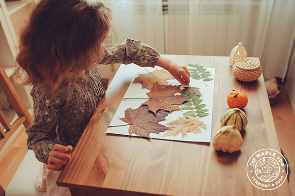 Kids activities with maple leaves