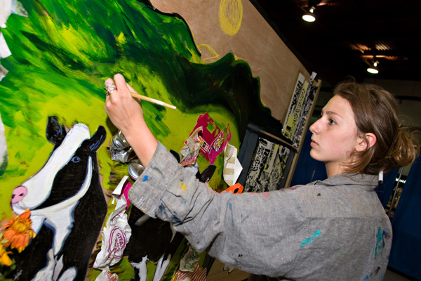 Vermont Events Calendar - paining a mural.
