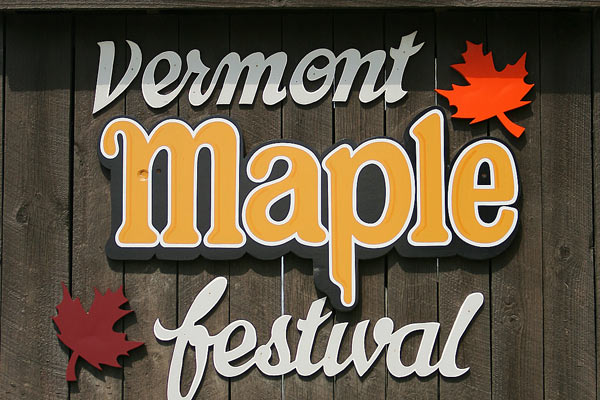 The Vermont Maple Festival sign in St. Albans, VT.
