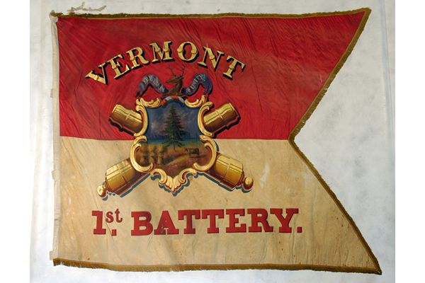 red and white historic flag used by a Civil War Vermont Infantry