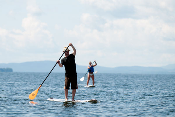 Paddle boarding on Lake Champlain.