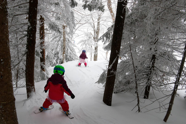 Kids skiing through Vermont trees