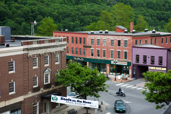 Birds eye view of downtown Bellows Falls