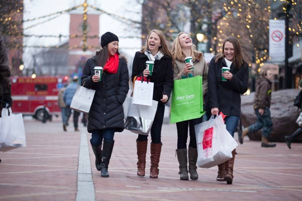 Group of people shopping on Church Street in Burlington