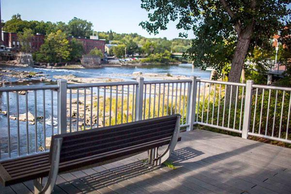 A bench on the river walk in Winooski, Vermont.